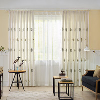 CITYINCITY Luck Tree Faux Linen Darpe For Bedroom Traditional Chinese Style Curtains For Livingroom Curtain Window Customized