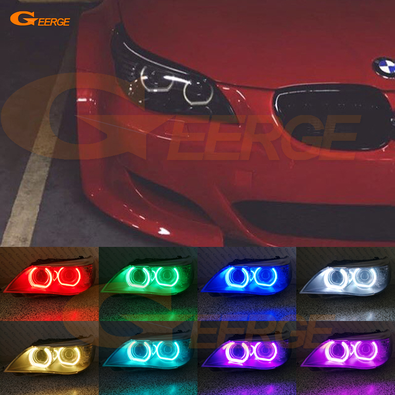 For BMW E60 E61 LCI 525i 528i 530i 535i 545i 550i M5 XENON HEADLIGHT DTM Style Ultra bright Multi-Color RGB LED Angel Eye kit for bmw 5 series e60 e61 lci 525i 528i 530i 545i 550i m5 2007 2010 xenon headlight dtm style ultra bright led angel eyes kit page 3