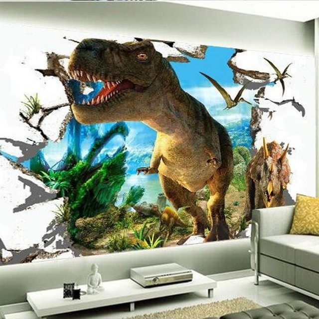 Beibehang 3d Wallpaper Custom Mural Dinosaurs Background Wall Painting Photokids Room Decor For