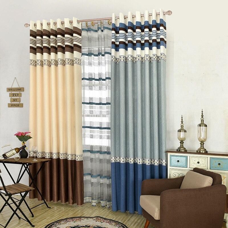 ventanas modernas cortinas opacas cortinas de tul empalme impresa cortinas de dormitorio para el hogar rideaux