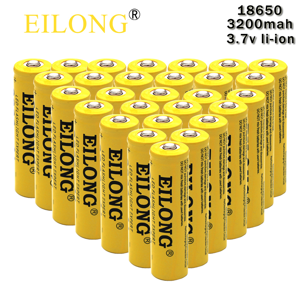 30pcs 18650 Battery Eilong 18650 3.7V 3200mah Super High-capacity & Fast Li-ion Protected Rechargeable Batteries perfect Power super power electric bike battery 48v 17 5ah li ion battery with sanyo ga 18650 cells for bafang 8fun 48v 750w 1000w ebike motor