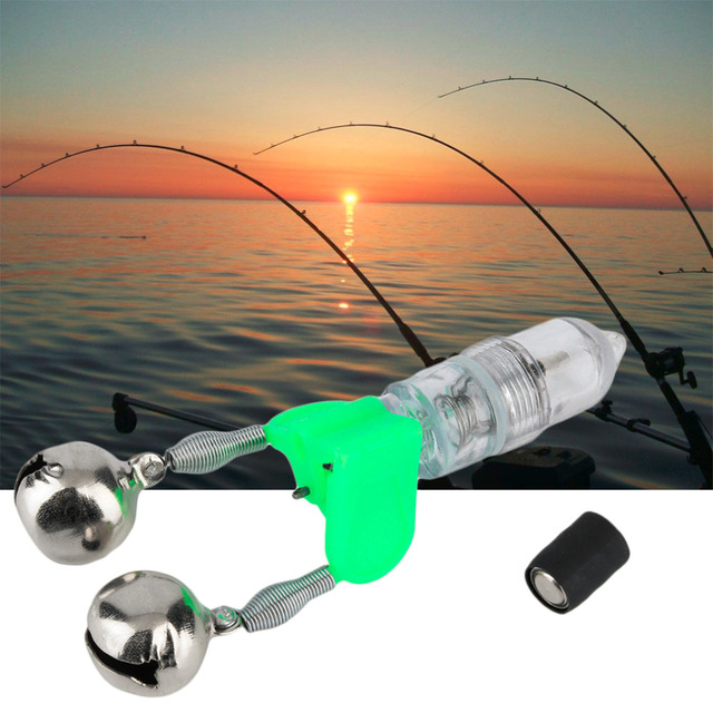LED Flash Light Night Electronic Fishing Bite Alarm Finder Lamp Double Twin Bells Tip Clip On Fishing Rod Tackle free shipping