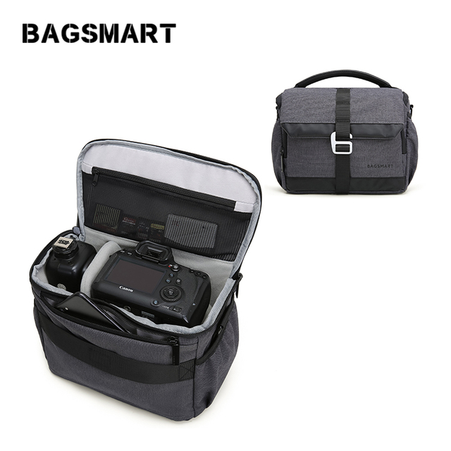 BAGSMART DSLR/SLR Camera Shoulder Bag Waterproof Polyester Camera Case For Canon Nikon Sony Lens Pouch Bag with Rain Cover