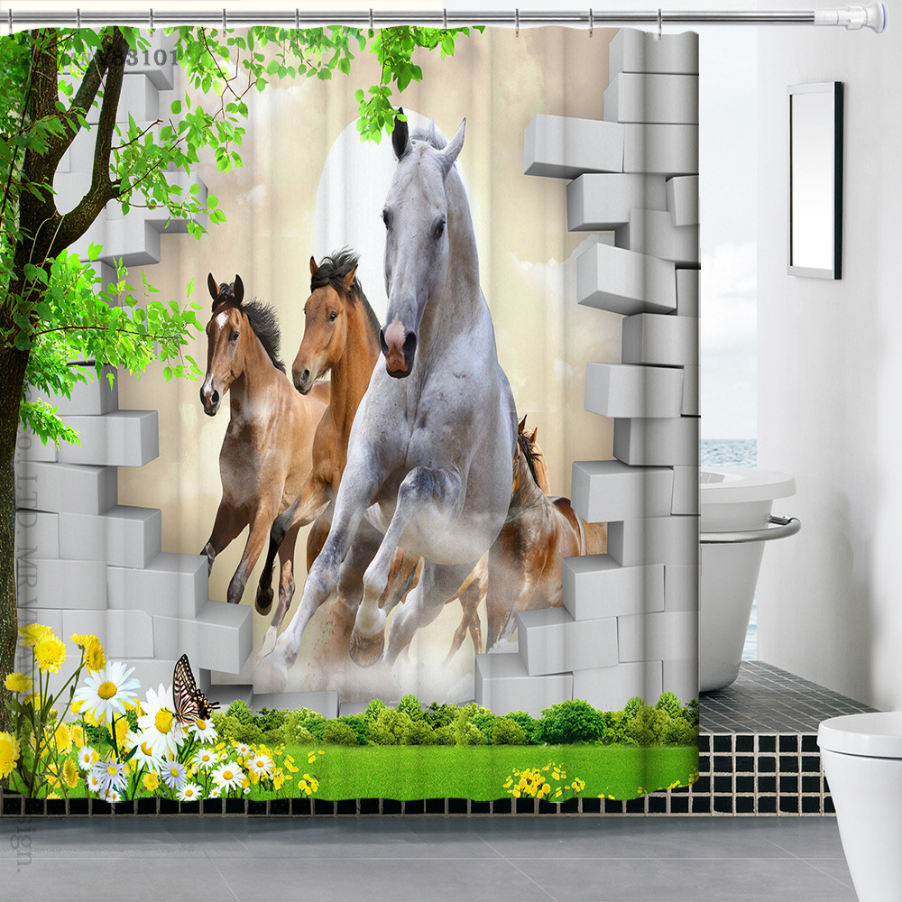 3D Printing Animal World Shower Curtains Horses Zebra Curtain Cool For Bathroom Free Shipping