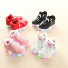hot deal buy 2018 led glitter winter baby girls boys shoes colorful lighted cute baby casual shoes diamond high quality baby boots sneakers