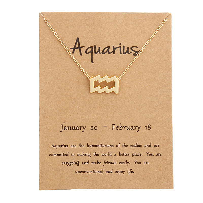 New Fashion 12 Constellation Necklaces for Women Aries Capricorn Taurus Necklace Gold Silver Message Card Pendant Jewelry Gifts in Choker Necklaces from Jewelry Accessories