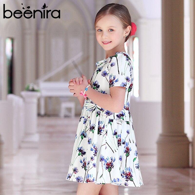 все цены на Beenira Girls Dresses 2017 New European And American Style Children Short-Sleeve Cute Summer Dress Kids Flore Princess Dress онлайн