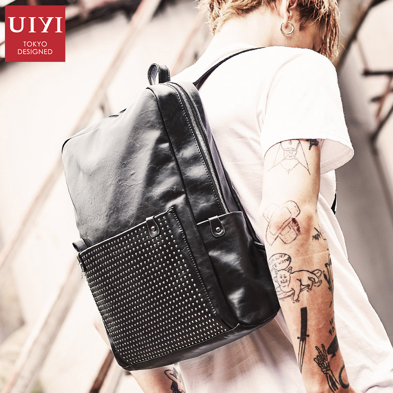 UIYI Male Backpacks Waterproof Backpack Quality PU Leather bag Travel Backpack Casual Bag for Men Fashion Backpack for Teenager uiyi brand new men backpack black waterproof backpack fashion pu leather travel bag casual school bag for teenagers 2018