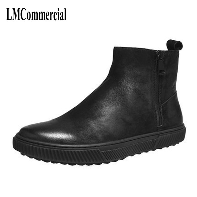 Men leather high boots Martin zipper shoes and casual shoes men boots British Fashion men