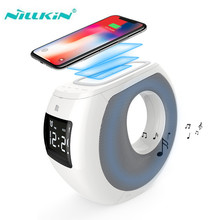 Nillkin Music Player Subwoofer portable alarm clock bluetooth speaker with aux/nfc/usb charging celephone qi wireless charger