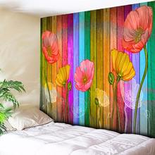 Board Poppy Flowers 3D Wood Print Tapestry Wall Hanging Bohemian Home Decor Boho Wall Carpet Living Room Couch Blanket 200x150cm