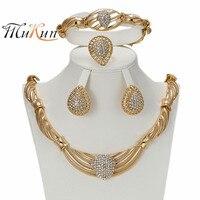 2017 MUKUN Women Jewelry Sets Gold Color Statement Necklace African Beads Dubai Turkish Indian Wedding Bridal