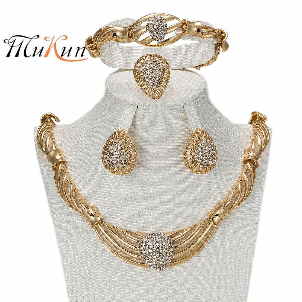 2017 Mukun Frauen Schmuck Sets Gold Farbe Aussage Halskette