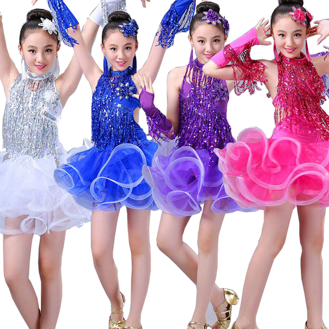 299011e70 Girls Tassels Latin dancing dress Kids Sequined Ballroom Modern ...