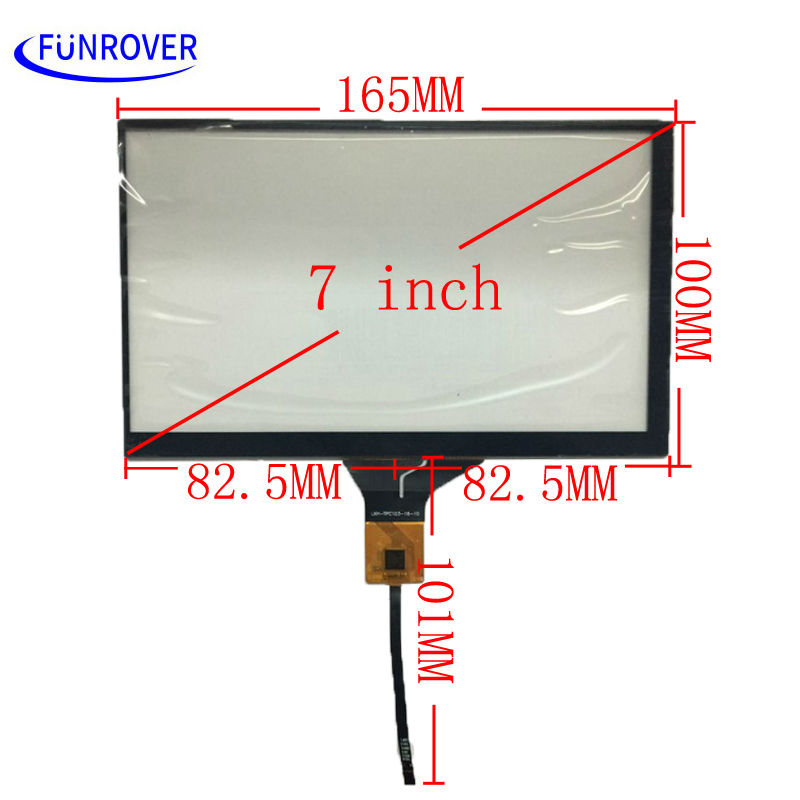 FUNROVER 7 inch 165mm*100mm capacitive touch screen car DVD navigation LCD screen touch screen for 1024x600 Android dvd gps
