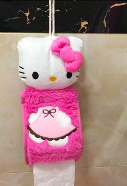 Мягкий теплый меховой коврик для ванной с рисунком котенка из мультфильма, Набор чехлов для унитаза - Цвет: Tissue case