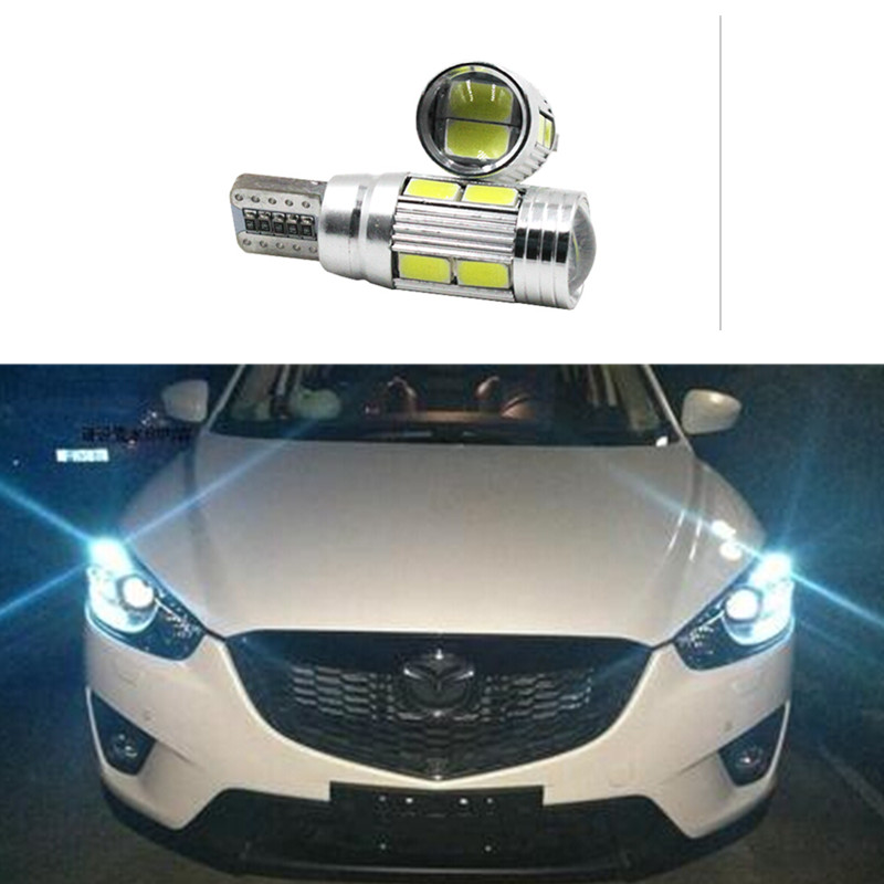 2 X T10 LED W5W Car LED Auto Lamp 12V Light bulbs with Projector Lens for mazda 3 Axela 6 atenza cx-5 cx5 cx 5 2 m3 drl parking deechooll 2pcs wedge light for mazda 2 3 5 6 mx5 rx8 cx7 626 gf gg ge gw canbus t10 57smd 6w led clearance xenon lighting bulbs