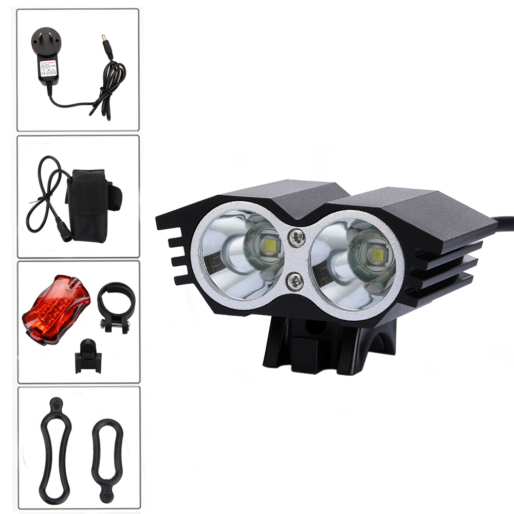 Waterproof 6000LM 2x XM-U2 LED Head Front Bike Light Bicycle Lamp Led Cycle Flashlight Torch with Battery+ Back Tail light cree xm l t6 bicycle light 6000lumens bike light 7modes torch zoomable led flashlight 18650 battery charger bicycle clip