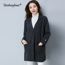 Baishanglinna Winter Coat Women Warm Cotton-padded Wool Coat Long Women's Cashmere Coat European Fashion Jacket Outwear 2017 new