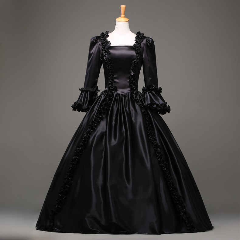 Hot Sale Black Gothic Victorian Dress Period Renaissance Rococo ...