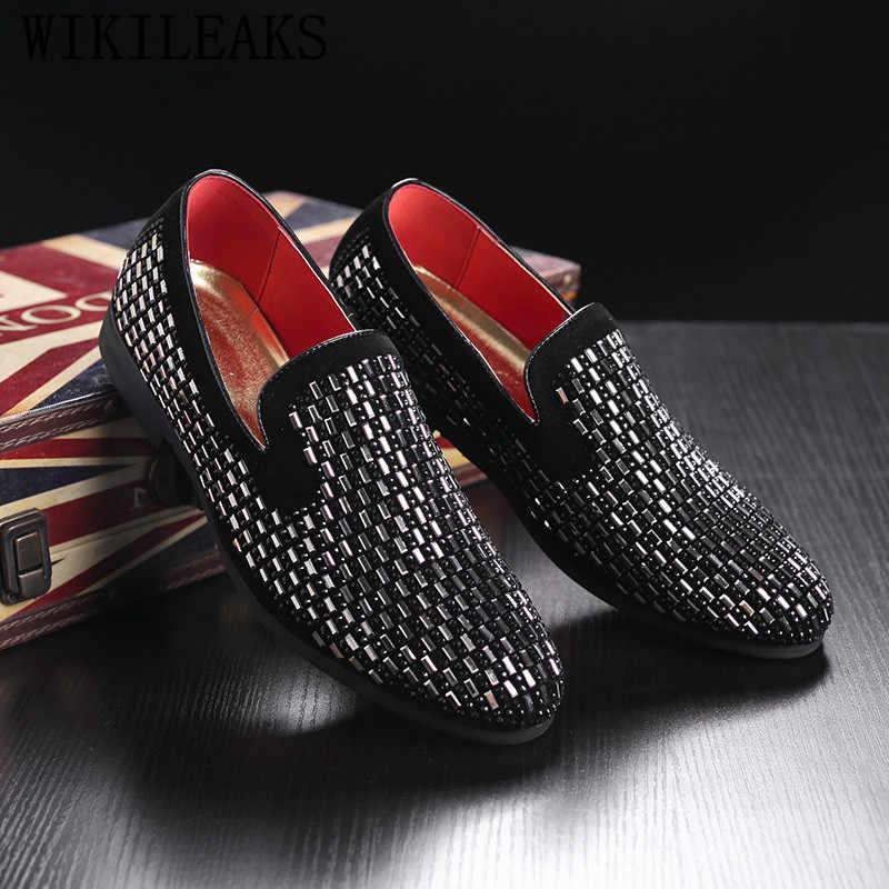 Zapatos formales de marca de lujo con diamantes de imitación, mocasines oxford para hombre, zapatos italianos de boda, zapatos de vestir para hombre, zapatos de cuero sepatu pria