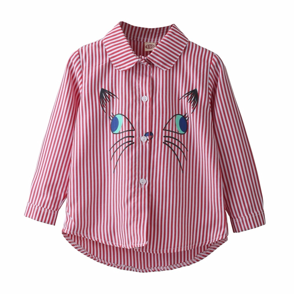 Children Turn-down Collar Embroidery Cartoon Cat Pattern Long Sleeve Shirts Blouse Outfits 2018 New stylish turn down collar long sleeve zip pockets women s black jacket
