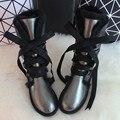 BLIVTIAE/de Lujo de Invierno calcetines hasta la Rodilla de piel de Oveja Australia Botas Para la Nieve Botas de Piel de Oveja De Lana Natural Dulce Arco zapatos Planos de Las Mujeres Botas largas