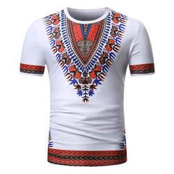 Для мужчин Африканский рубашки печати с коротким рукавом футболки мужской топы