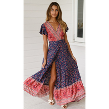 2019 Spring And Summer New Hot Women Sexy V-neck Slim Waist Slits Flower Print Lace Up Dress National Style Casual Long F3