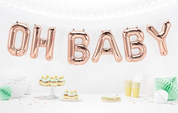 OH Bébé Ballons en or Rose, bébé Douche Ballons 16 pouce Ballons pour un Bébé Douches ou Genre Indiquent la Partie Décor