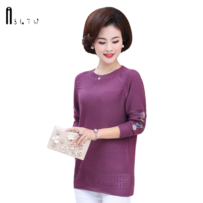 ASLTW Spring Pullover Women 2019 New High Quality O Neck Embroidery Hollow Female Sweaters Casual Top For Women