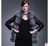 New Casual Women Patchwork Fox Fur Collar Pu Leather Slim Jacket Long Section Plus Size Fashion