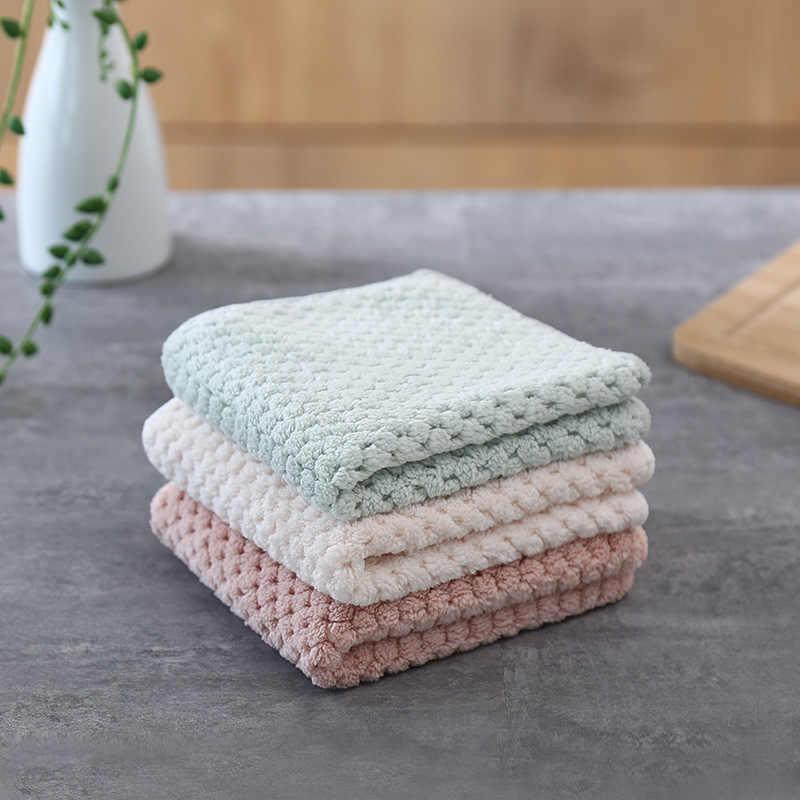 YINUO Household Kitchen Towels Scallop Coral Pile Thickening Microfiber Double Wash Towel Water Absorbent Hand Cleaning Cloth