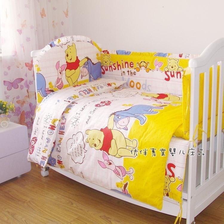 Фото Promotion! 7pcs 100% Cotton Newborn Bebe Baby Crib Bedding Sets Bumper Quilt Bed Around (bumper+duvet+matress+pillow). Купить в РФ