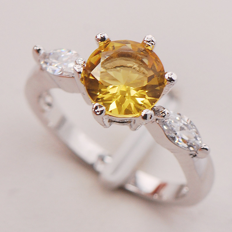 Yellow Crystal Zircon Women 925 Sterling Silver Ring F744 Size 6 7 8 9 10