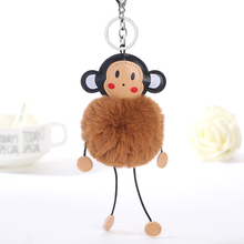 New Fashion Faux Rex Rabbit Fur Pom Pom Monkey Toy Keychain Women Bag Charms Key Chain Fluffy Pompom Fur Ball Pendant Party Gift