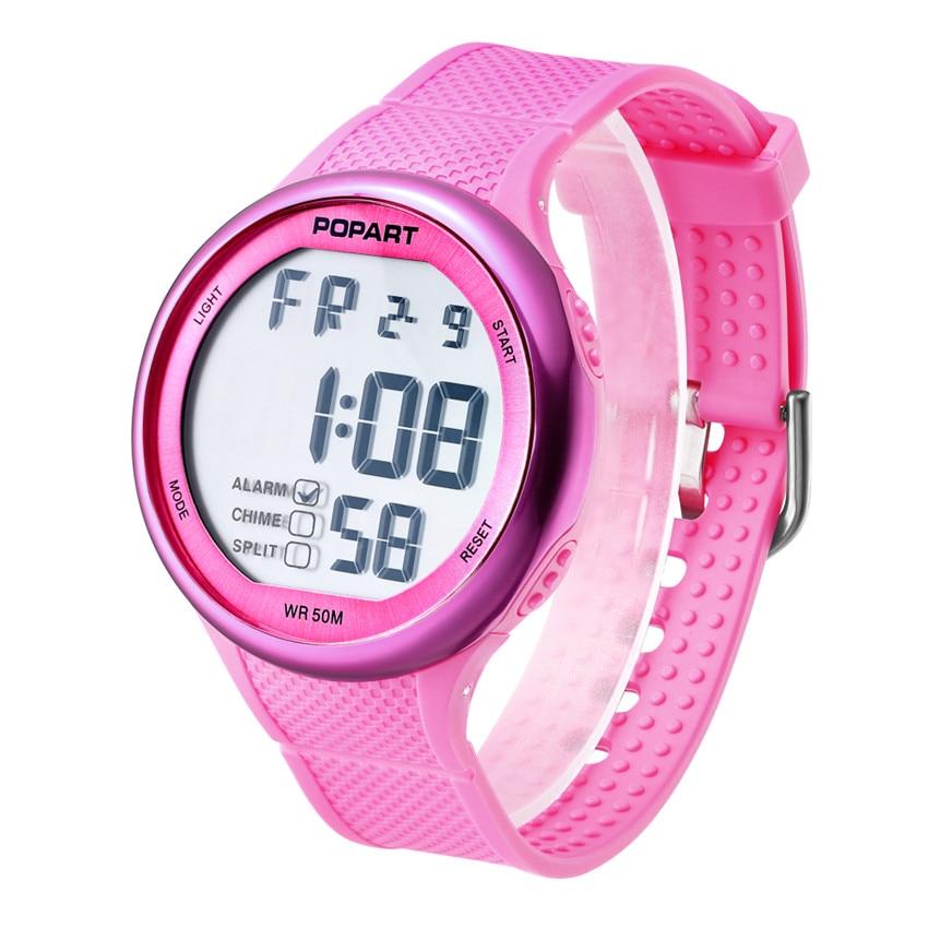 POPART Women's Watches Ladys Stopwatch Week Alarm LED Digital Sport Wrist Watch 50M Waterproof Montre Femme Fashion Watch 2018 цена и фото