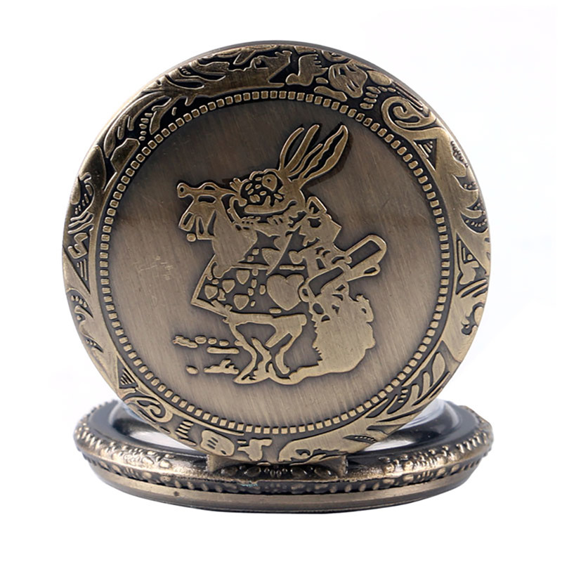 Купить с кэшбэком New Arrival Retro Alice in Wonderland Theme Bronze Quartz Pocket Watches Vintage Fob Watches Christmas Birthday Gift