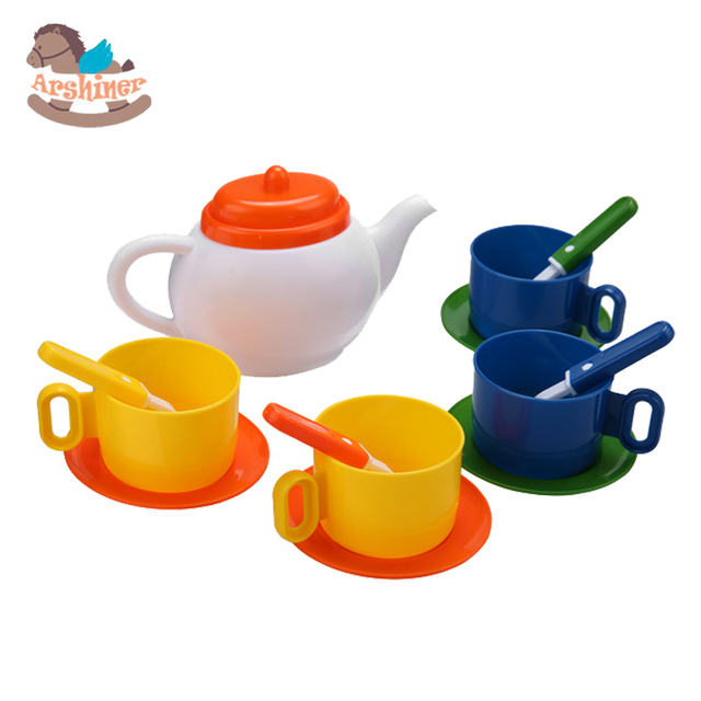 Arshiner Children Kids Pretend Play Kitchen Set Tea Coffee Dishes Cup Spoon  13 Pieces/ Set