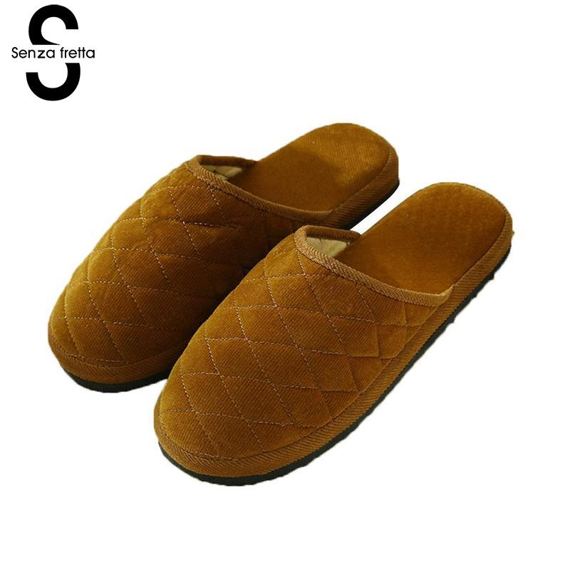 Senza Fretta Winter Home Slippers Anti Slip Soft Winter Warm Slippers Indoor Bedroom Lovers Couples Floor Shoes Scarpe Donna senza fretta women shoes new summer pvc slippers couples women anti slip home slippers indoor soft bottom women slippers