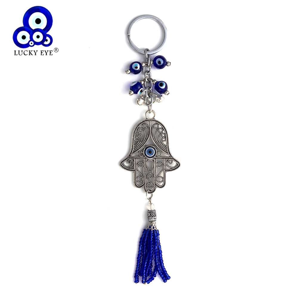 Lucky Eye Hamsa Keychain Rumbai Wall Hanging Evil Eye Amulet Kabbalah Hand Fatima Car Keychain Jewelry EY09