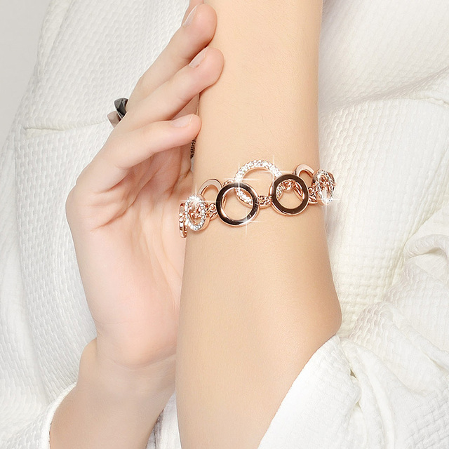 Rose Gold Plated Circles Bracelet with Paved Rhinestones