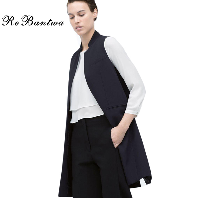 Women Vests Autumn Fashion Causal Sleeveless Cardigan Blazer Stand Collar Jacket Coats Solid None-Button Long Waistcoat Vest