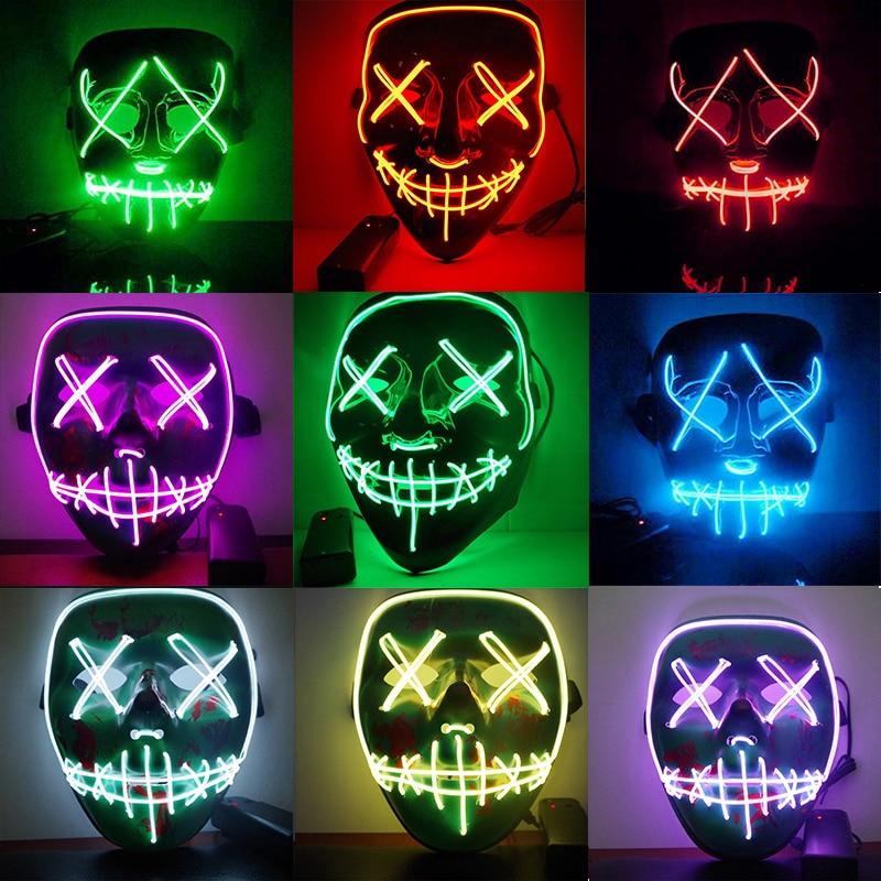 Dropshipping EL Licht Maske Up Lustige Maske von Die Purge Wahl Jahr Große für Festival Cosplay Halloween Kostüm