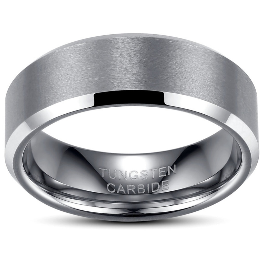 5f3d0d2401ec3 US $6.99 |Mens 8MM Size 7 15 Brushed Black Tungsten Carbide Wedding  Engagement Anniversary Classic Ring Band Father Husband Birthday Gifts-in  Wedding ...