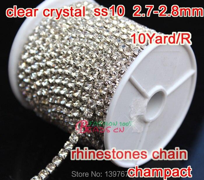 2015 Hot High Quality Wholesale Crystal Rhinestone chain 2.8mm SS10 silver  base 10yard roll compact claw For Wedding Dress 71468d67b5b3
