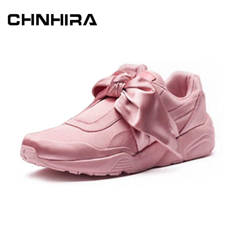 Chnhira alpargatas mujer zapatos planos de las señoras de seda del arco-nudo del