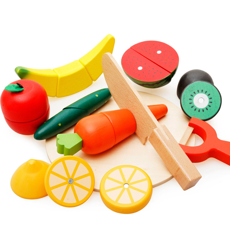 10Pcs/set Children Wood Kitchen Colorful Pretend Toys Educational Simulation Cut Magnetic Toys for Kids Fruit Vegetable HW-0002-