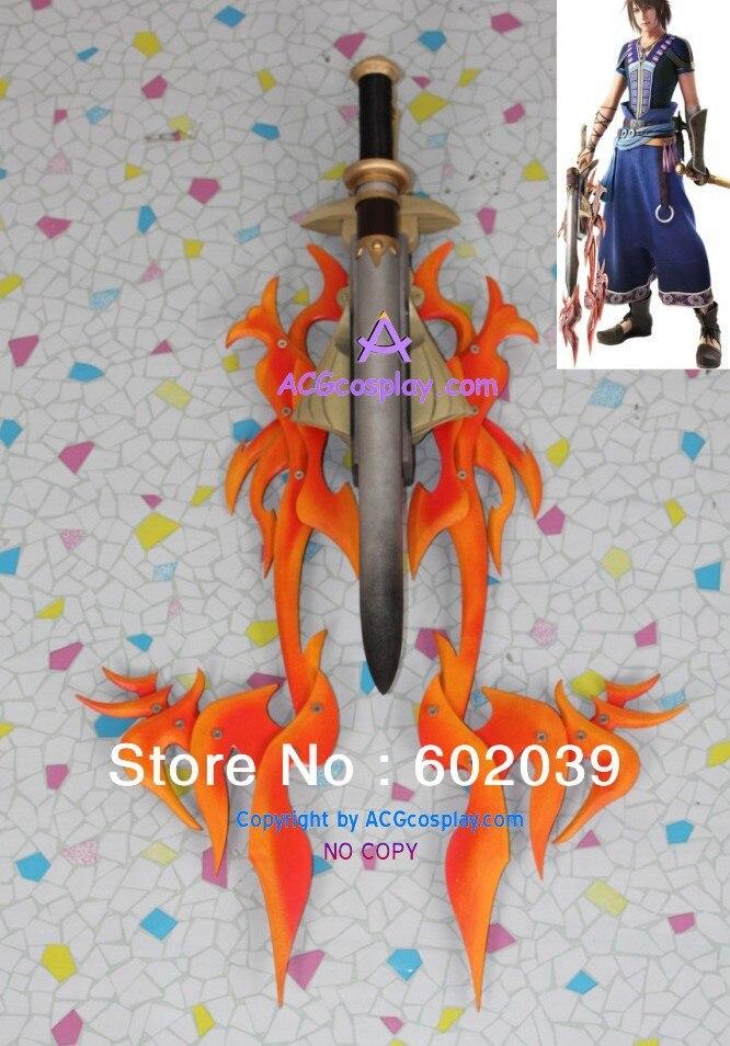 Final Fantasy XIII Ноэль Крейсса два лезвия Красный Пламя меч Косплэй опору ПВХ сделал ACG Косплэй