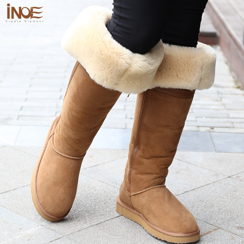 Fashion Style over the knee high Bowknot tall fur lined snow long ...